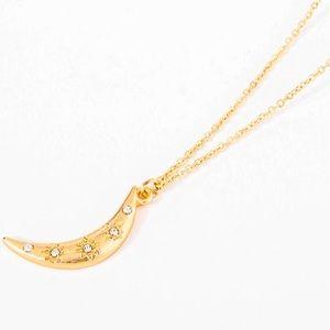 Crescent Moon Zircon Boho Gold Pendant Necklace!